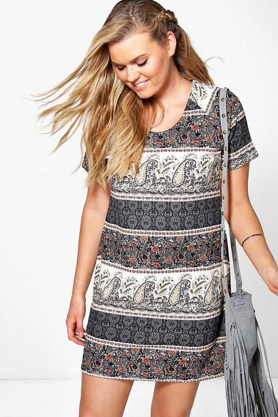 Plus Ashley Paisley Print Shift Dress