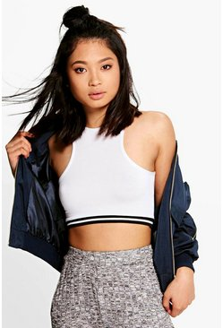 Petite Nixie Rib Detail Crop Top