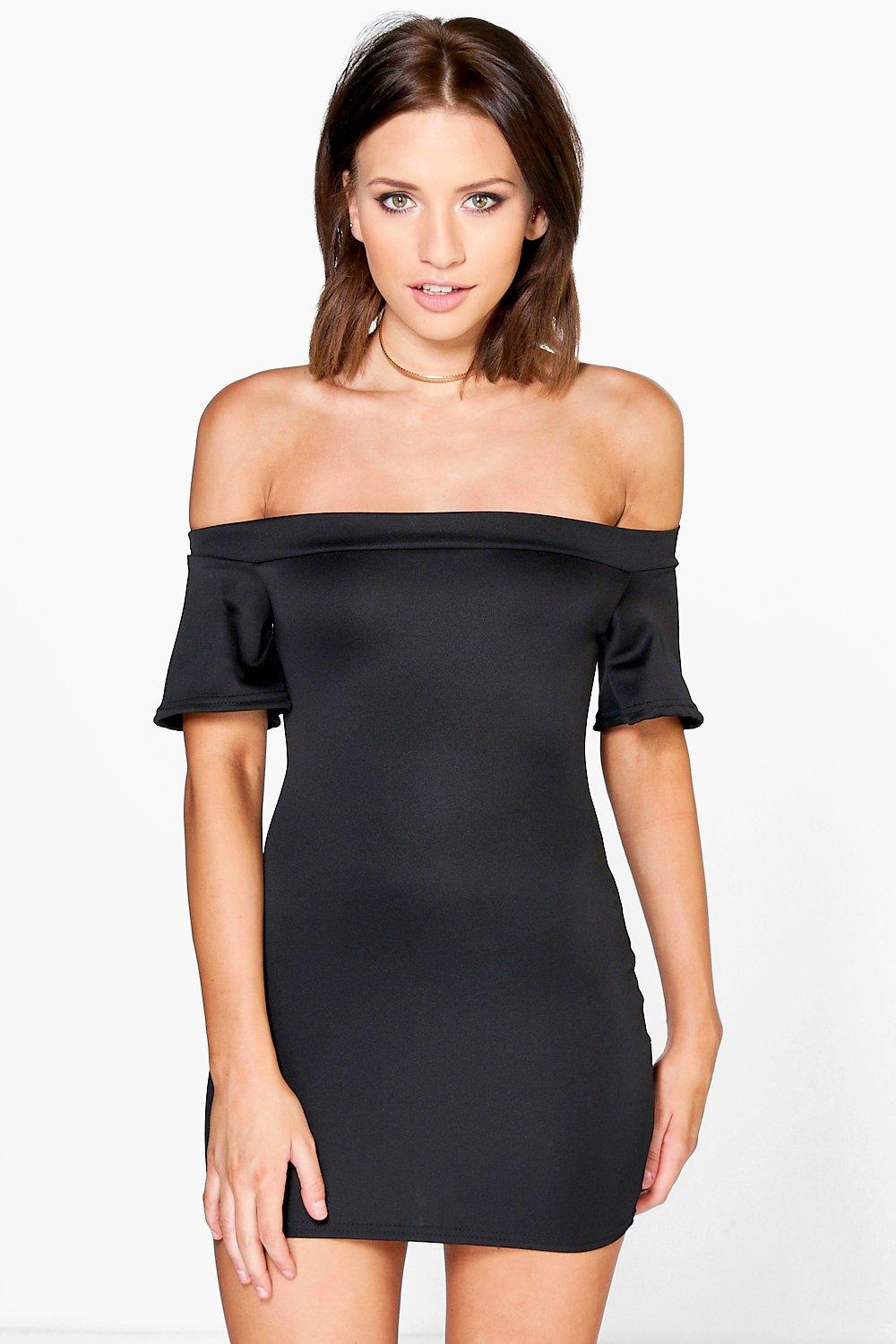 Petite Janey Off The Shoulder Scuba Dress