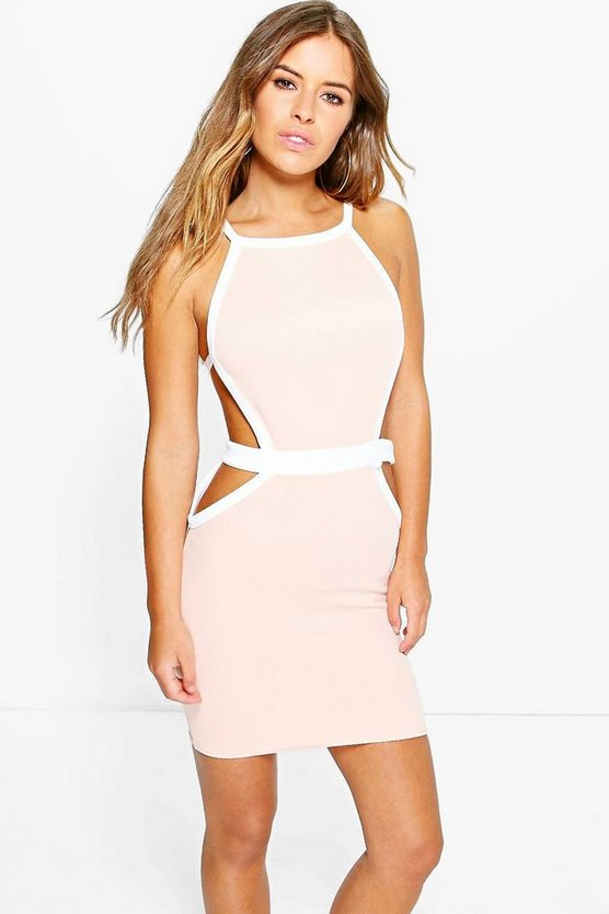 Petite Robyn Strap Cut Out Detail Bodycon Dress