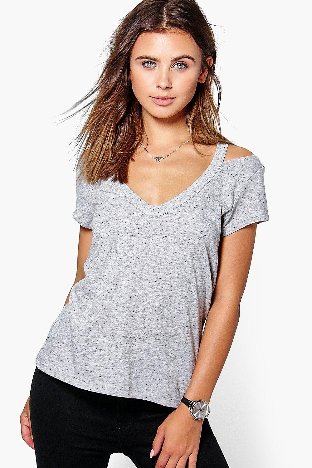 Petite Joy Cut Out Neck Premium Tee