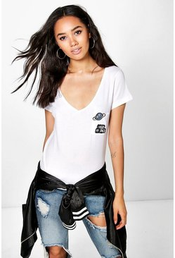 Petite Izobel Space Badge Slogan Tee