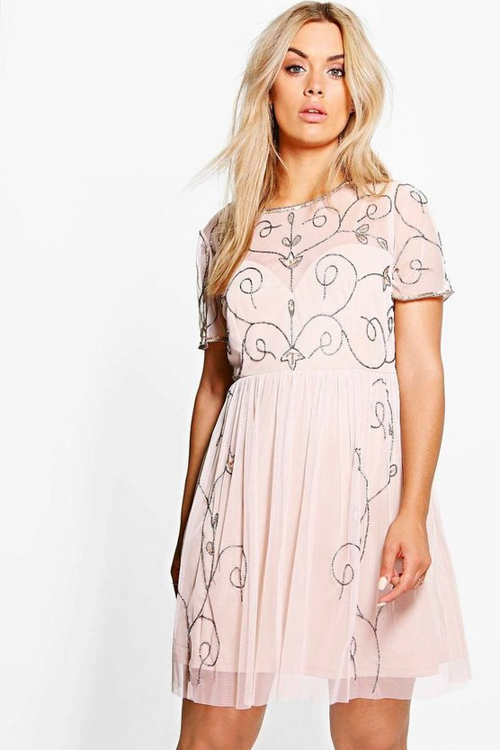 Plus Ari Boutique Embellished Midi Skater Dress