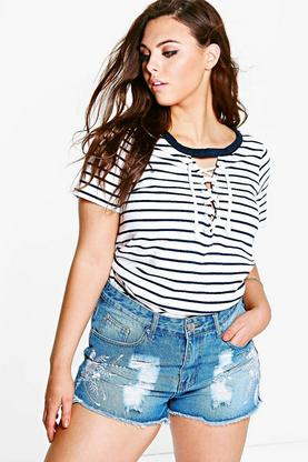 Plus Jessa Lace Up Stripe Crop Tee