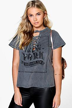Plus Melli Acid Wash Printed Lace Up Tee