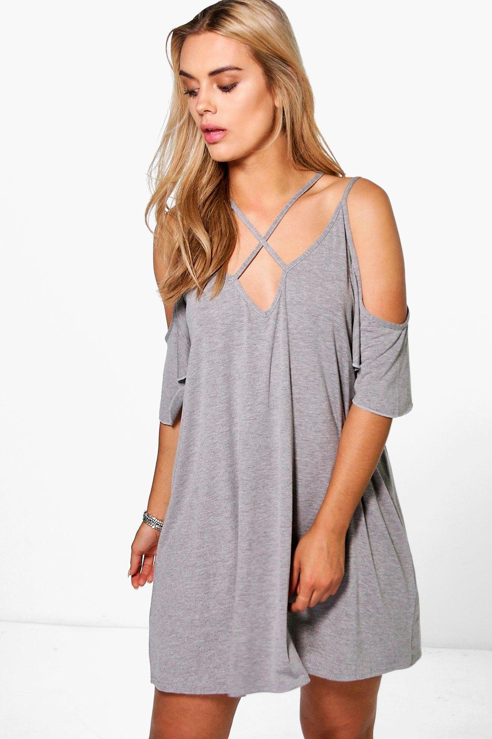 Plus Shay Caged Open Shoulder Swing Dress