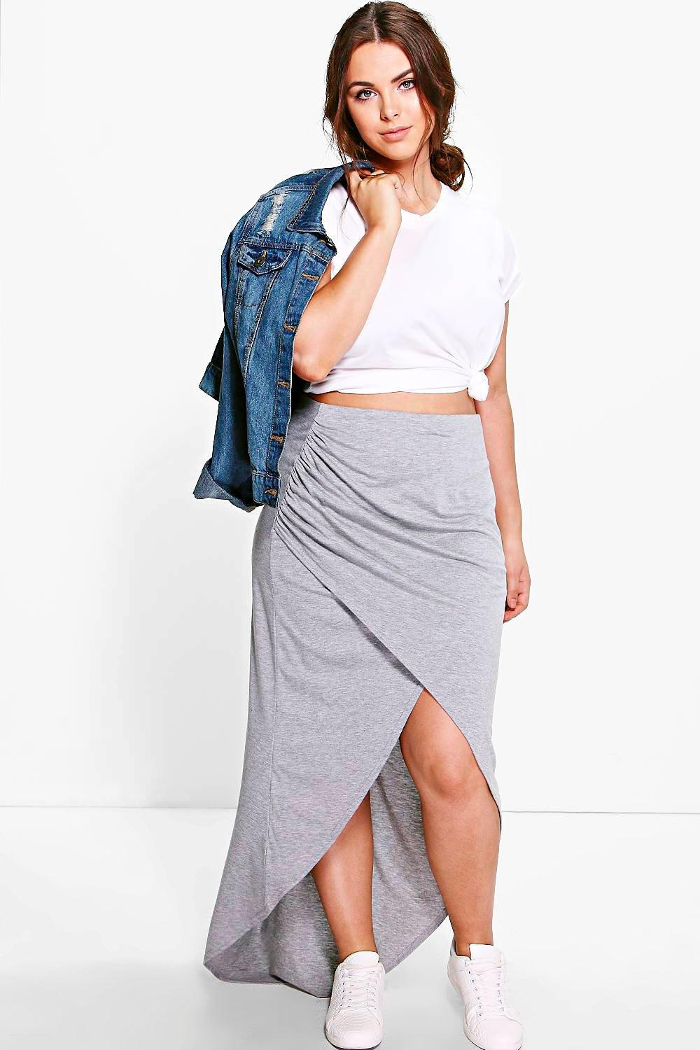 Plus Ciara Wrap Front Maxi Skirt