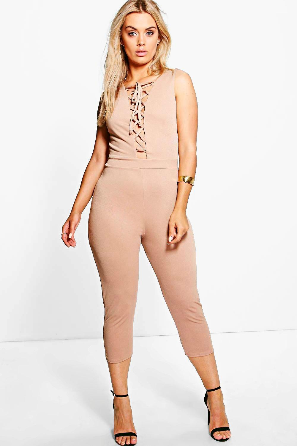 Plus Eldora Lace Up Jumpsuit