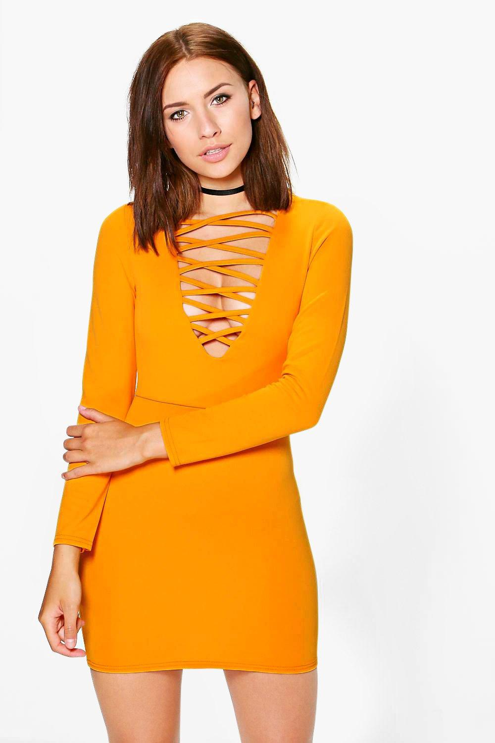 Petite Neve Strappy Plunge Bodycon Dress