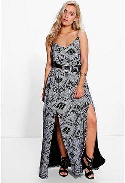 Plus Lulu Mono Split Front Maxi Dress