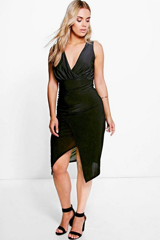 Plus Kira Wrap Front Slinky Midi Dress