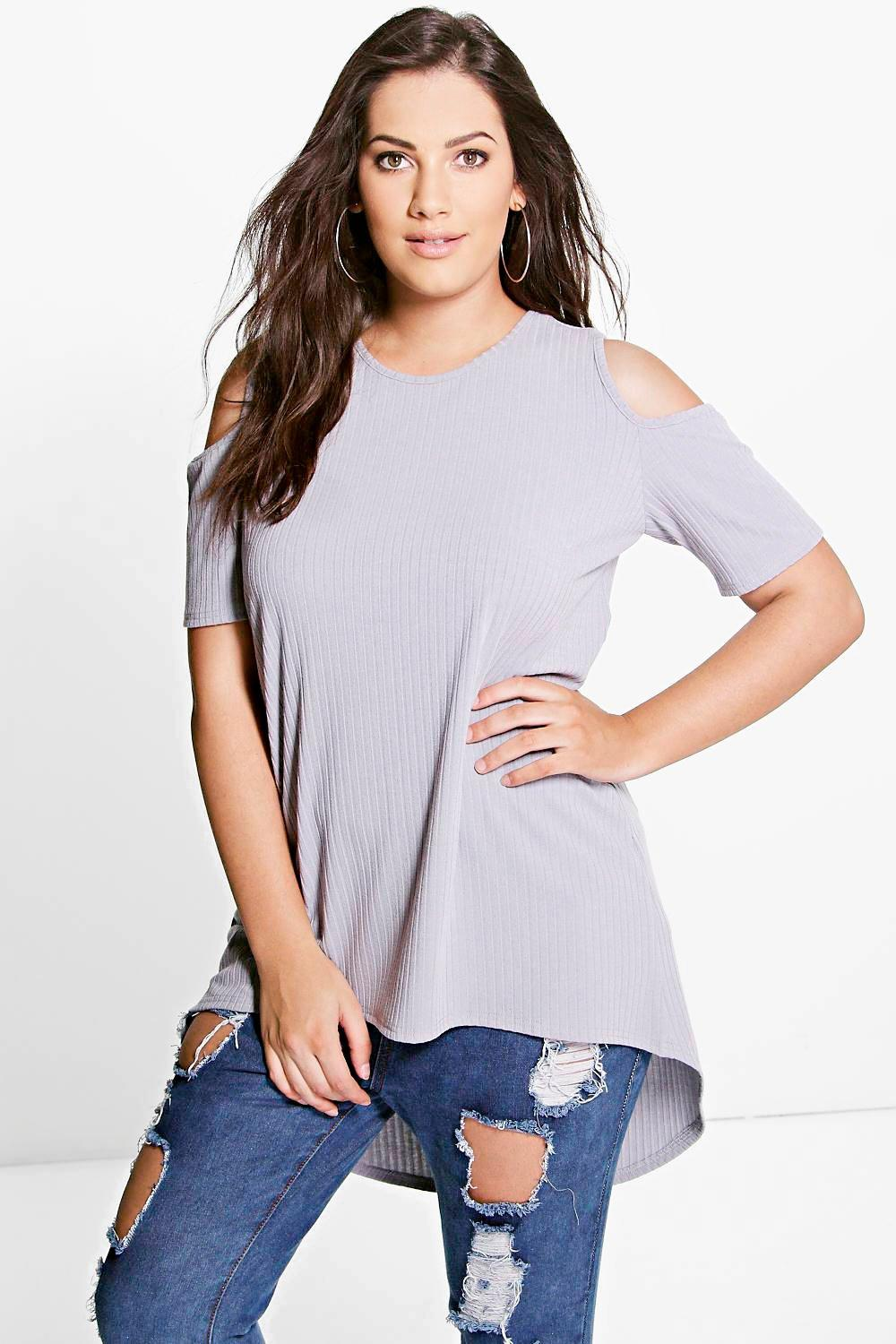 Plus Ivory Ribbed Open Shoulder Top
