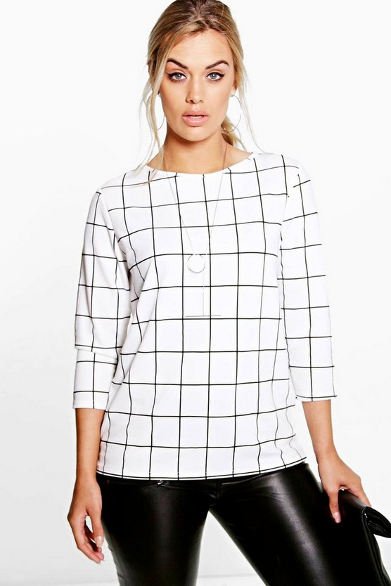 Plus Nia Grid Check Half Sleeve Top