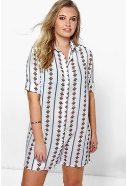 Plus Matilda Printed Shirt Dress