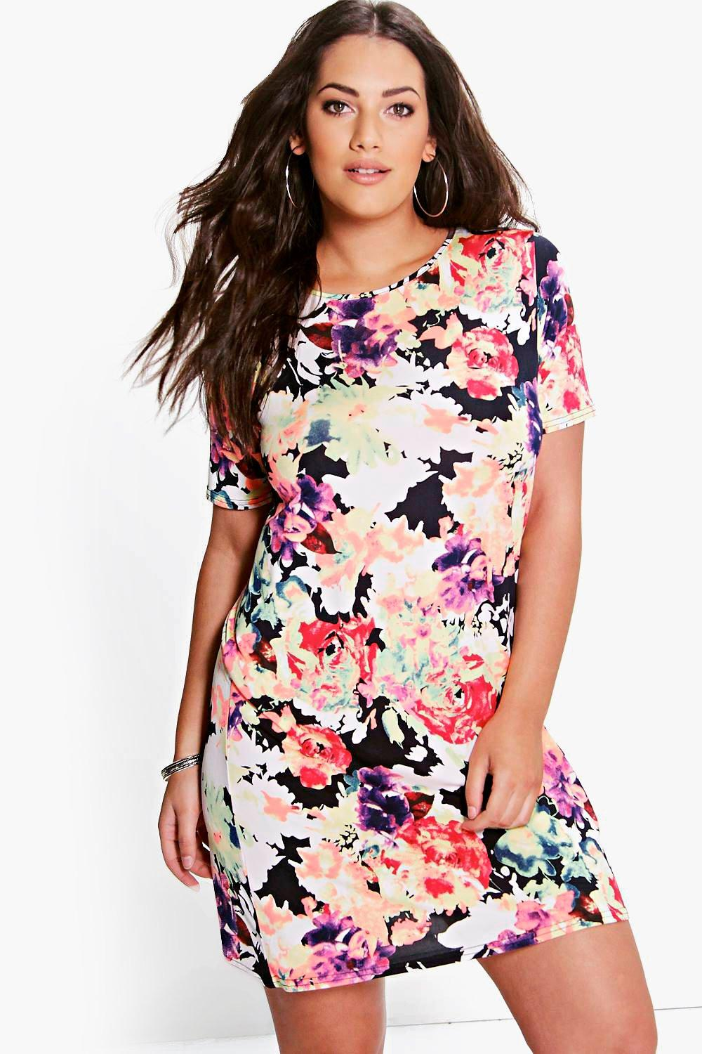 Plus Caia Floral Printed Shift Dress