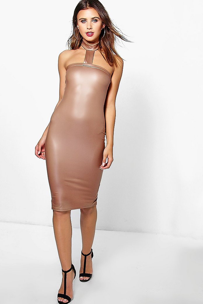 Petite Liv Strappy PU Midi Bodycon Dress