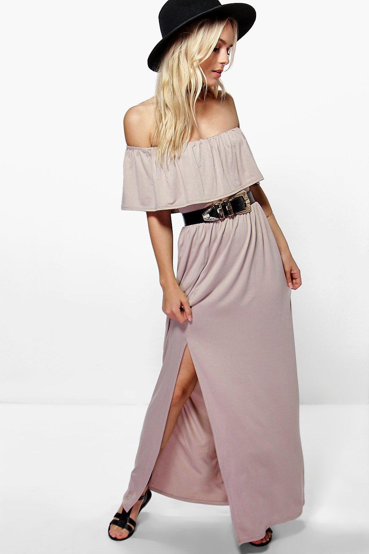 Aria Ruffle Bandeau Split Front Maxi Dress  sand