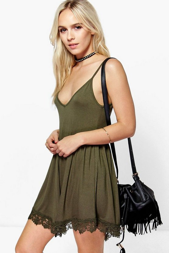 Petite Avery Crochet Trim Swing Dress