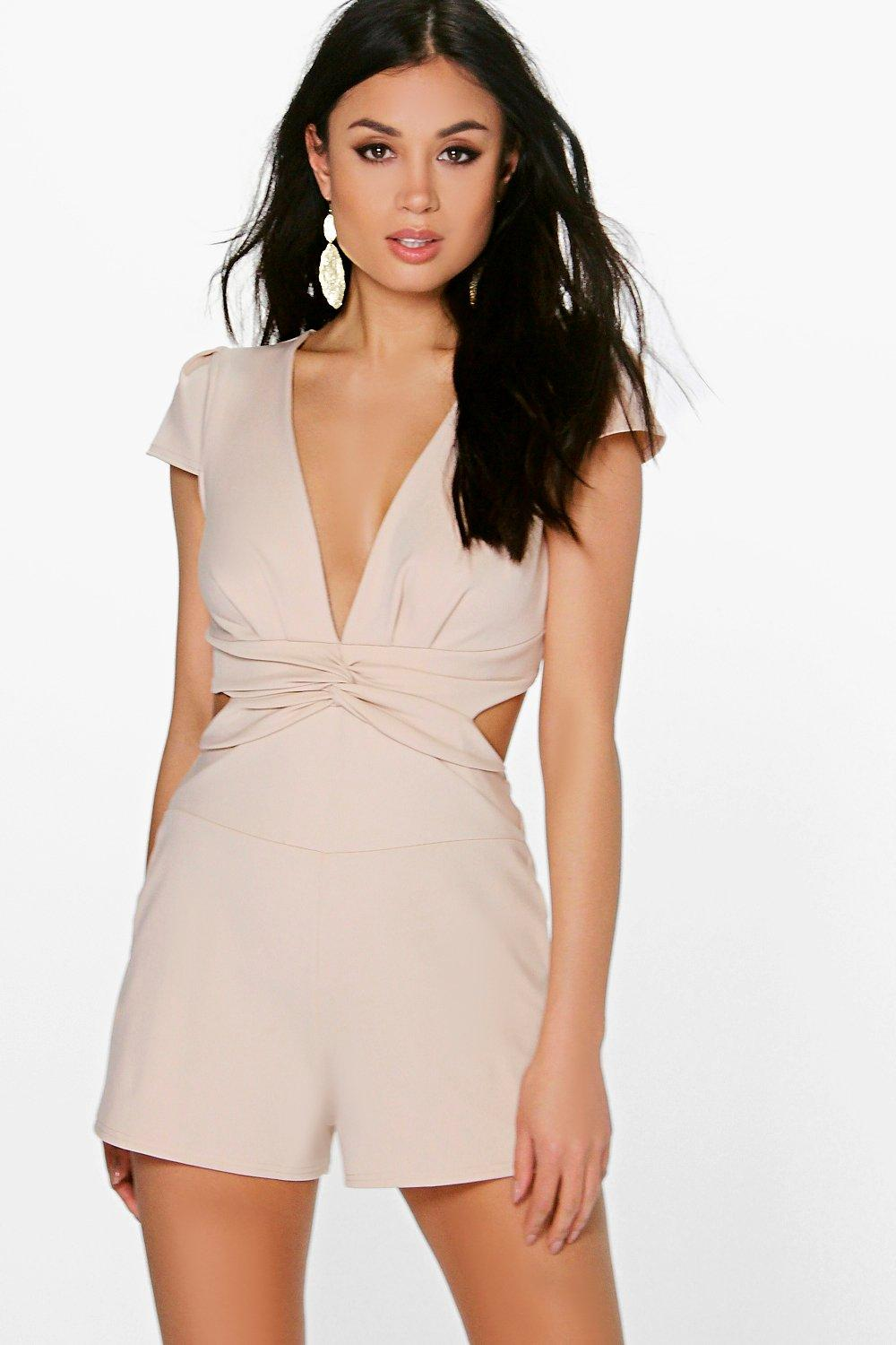 Petite Cerys Twist Front Cut Out Back Playsuit