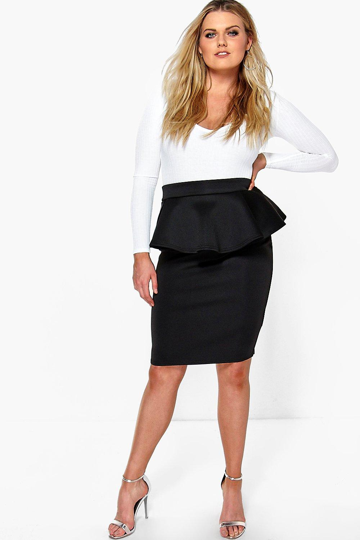 boohoo womens plus size eliza peplum skirt ebay