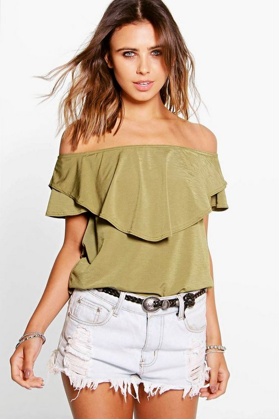 Petite Izzie Double Layer Bardot Top