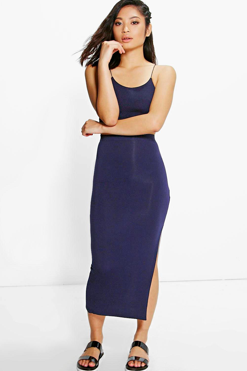 boohoo womens molly split side midi skirt in navy