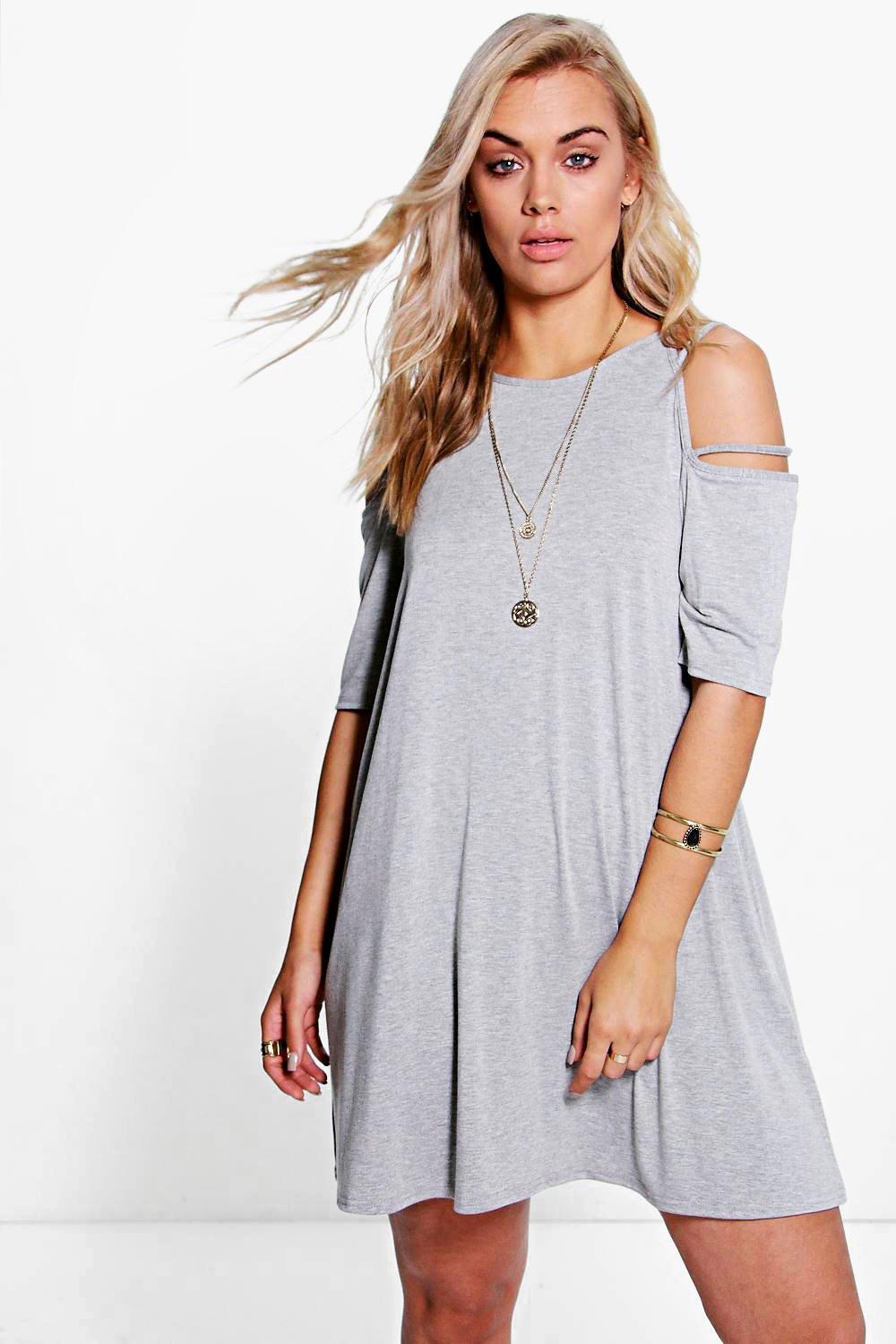 Plus Ada Open Shoulder Strappy Swing Dress