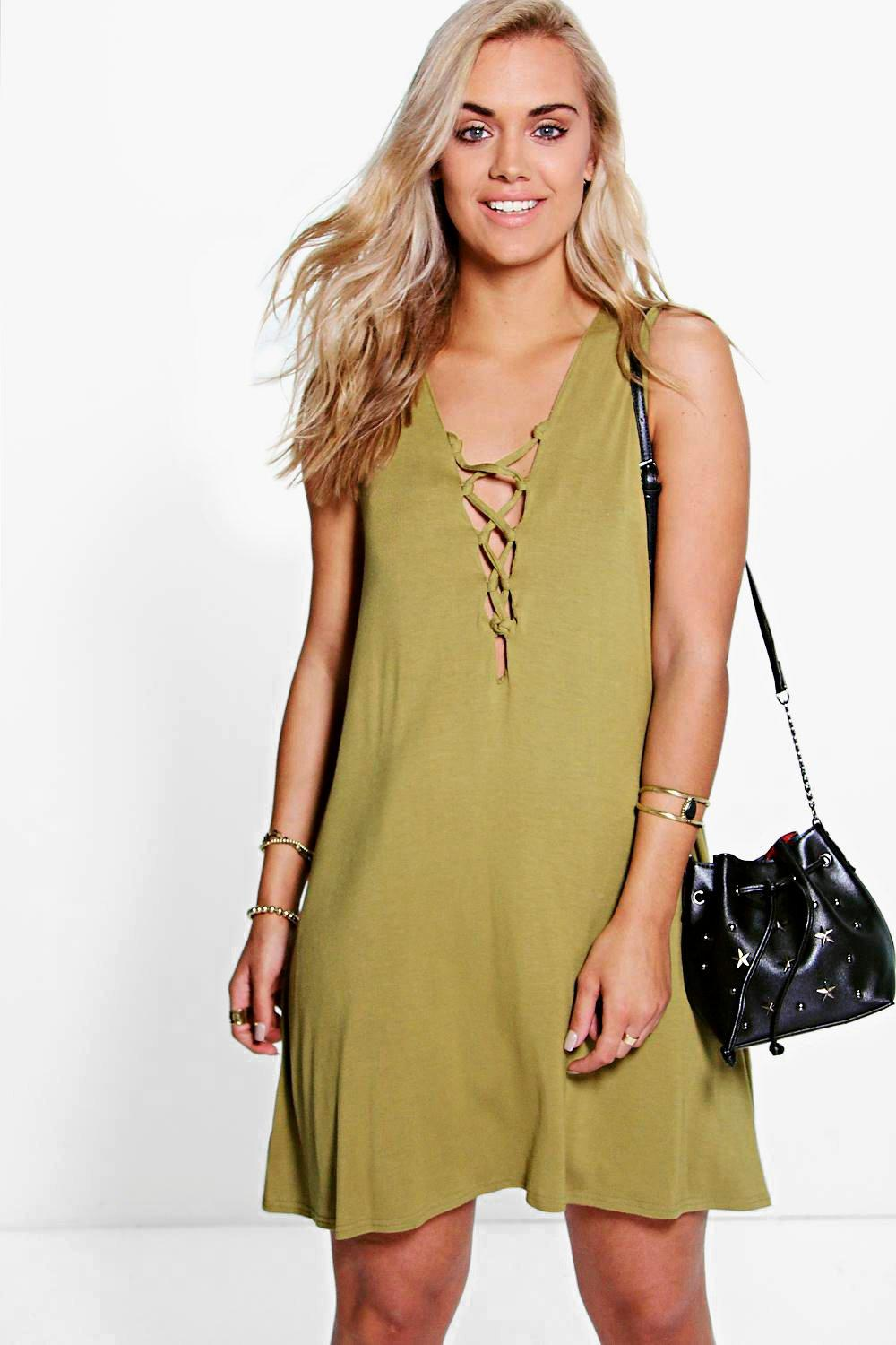 Plus Felicity Lace Up Swing Dress