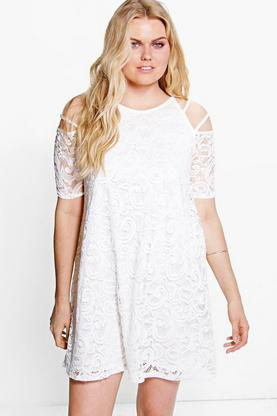 Plus Lorraine Lace Cold Shoulder Dress