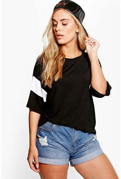 Plus Tilly Contrast Band Tee