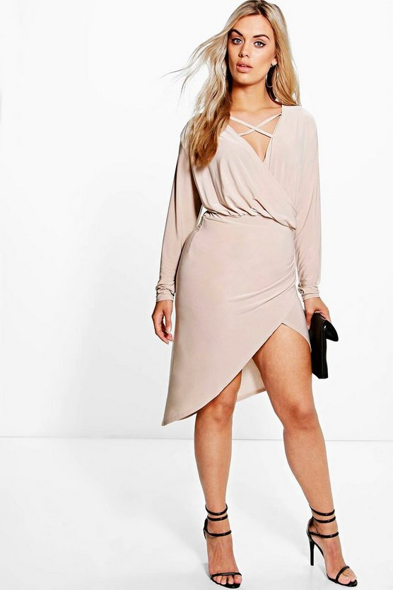 Plus Strappy Wrap Front Dress