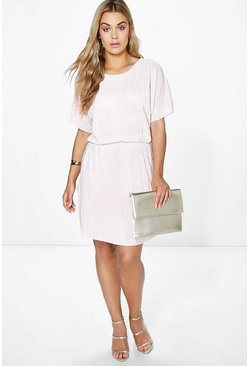 Plus Josie Shimmer Crinkle Double Layer Dress