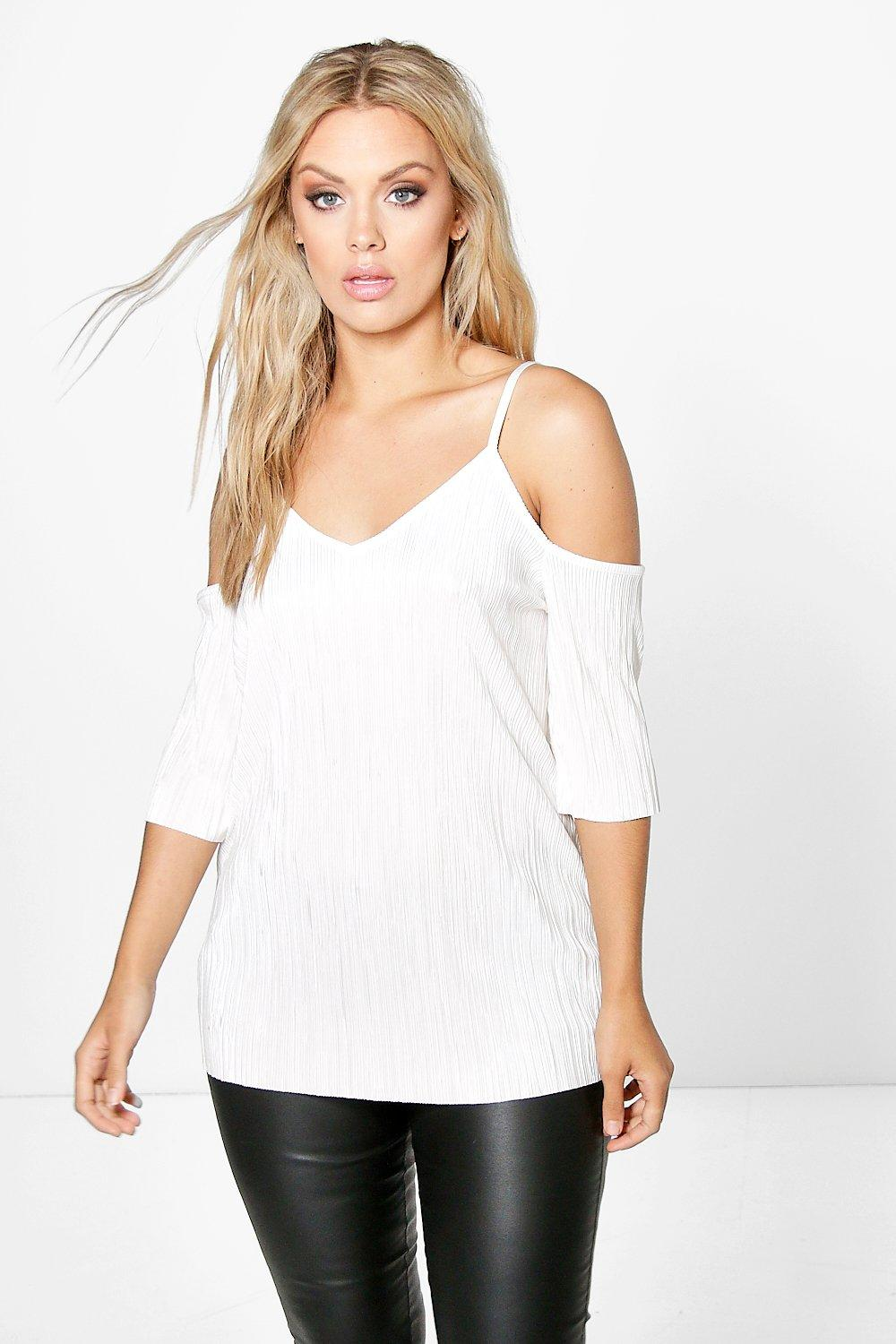 Plus Elena Pleated Open Shoulder Top