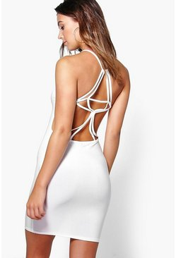 Petite Sabrina Slinky Caged Back Bodycon Dress