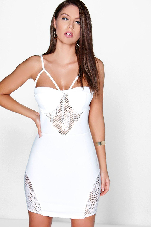 Roxie Mesh Insert Strappy Bodice Dress - ivory