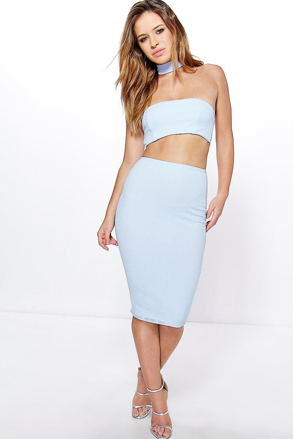 Petite Fay High Neck Cut Out Bandeau Midi Dress