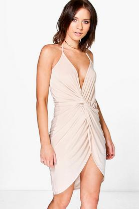 Petite Hana Strappy Knot + Drape Detail Midi Dress