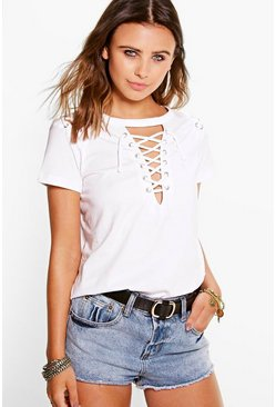 Petite Demi Lace Up Neck + Shoulder Tee