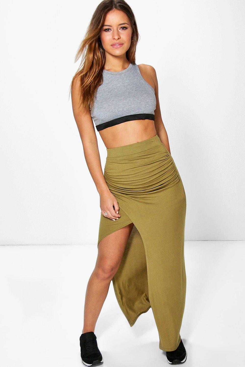 Petite Haley Wrap Front Split Maxi Skirt