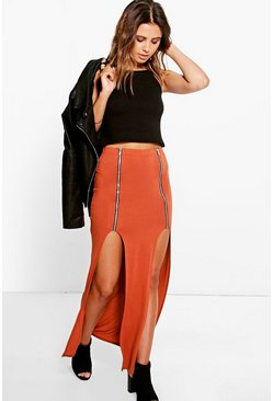 Petite Elsa Zip Detail Split Maxi Skirt