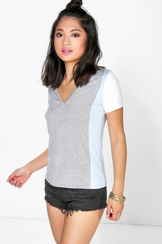 Petite Tammy V Neck Colour Block Tee