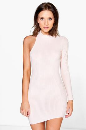 Petite Talia One Sleeve High Neck Dress