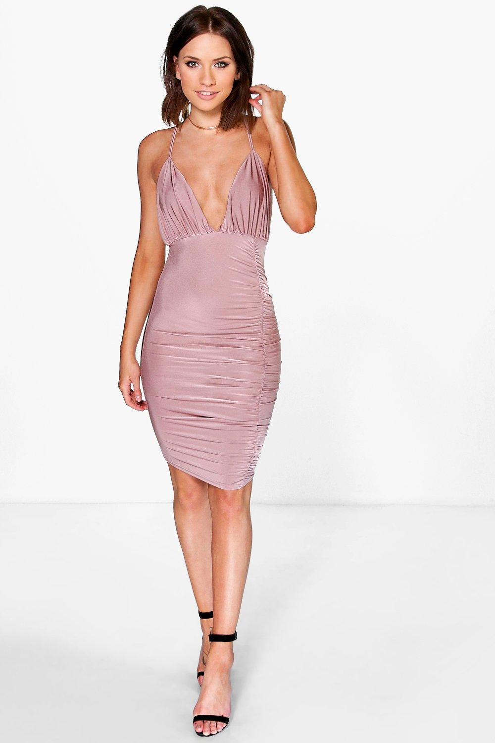 Petite Felicia Rouched Detail Midi Dress