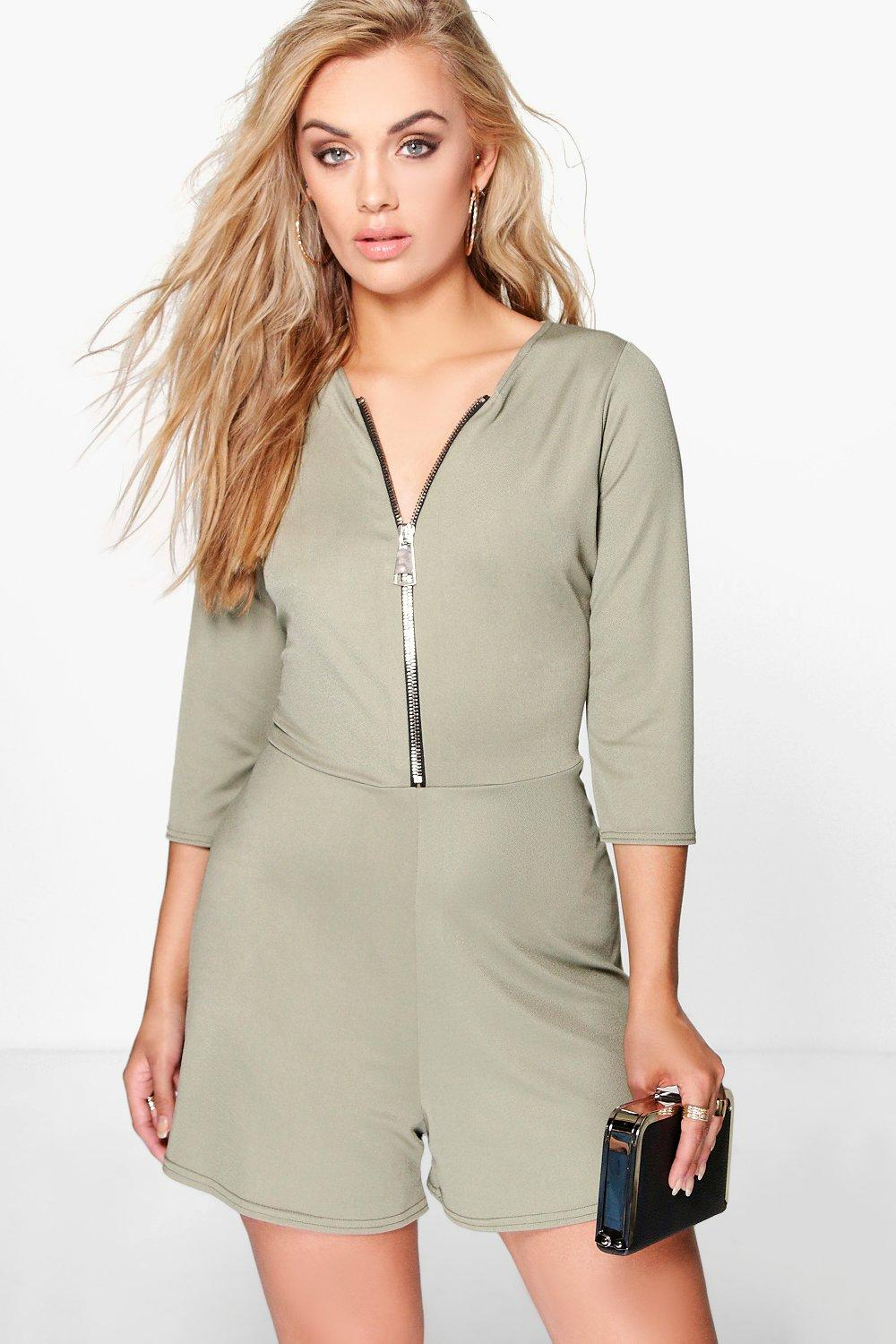 Plus Carla Zip Detail Playsuit