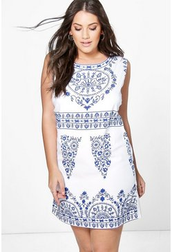 Plus Macy Placement Print Shift Dress