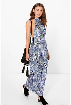 Petite Sade High Neck Low Armhole Maxi Dress