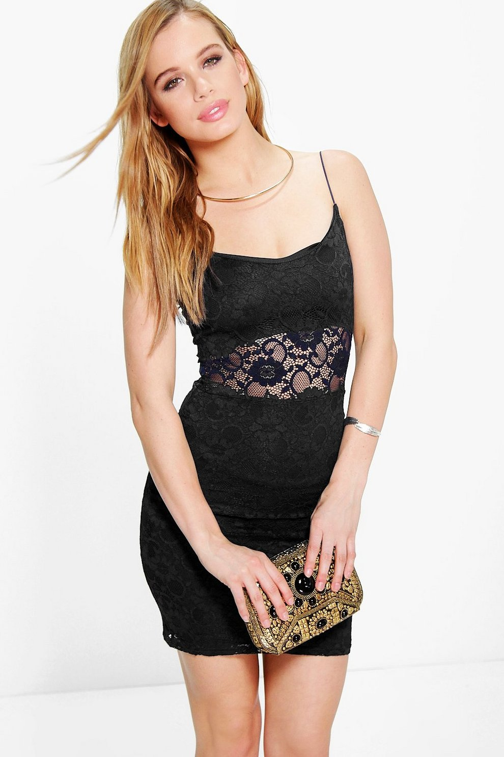 Inspire black lace panelled dress