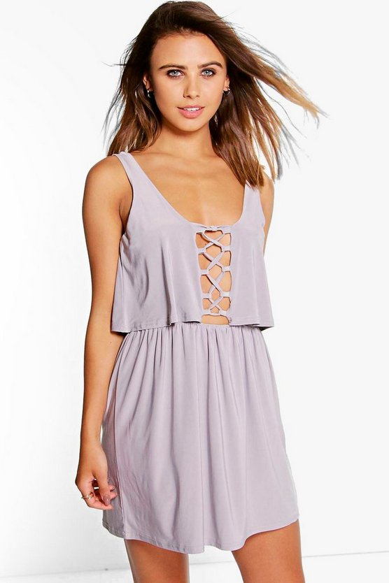 Petite Becki Double Layer Lace Up Swing Dress