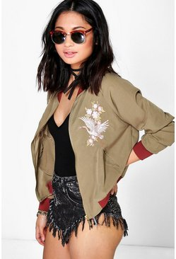 Petite Alyssa Embroidered Bomber Jacket