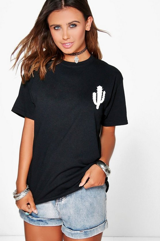 Petite Cactus Placement Print T-Shirt